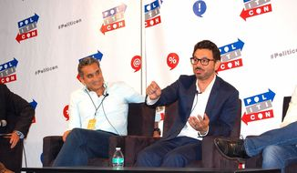 """The """"Egyptian Jon Stewart"""" Bassem Youssef (left) and Al Madrigal at Politicon's """"Humor, Satire & Speech in the Age of Trump"""" panel.  (Ed Rampell)"""