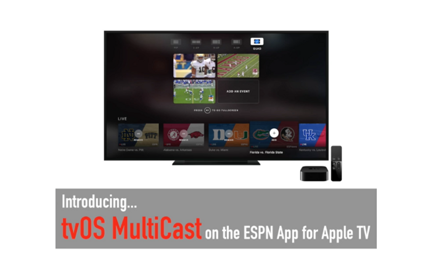 Screen capture from a promotional video for the newly updated ESPN Apple TV app, taken August 16, 2017. (Recode.net)
