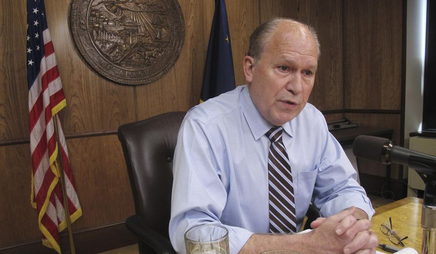 In this June 8, 2017, file photo, Alaska Gov. Bill Walker meets with reporters in Juneau. (AP Photo/Becky Bohrer, File)