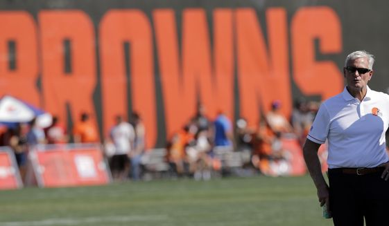 Cleveland Browns owner Jimmy Haslam watches during practice at the NFL football team's training camp facility, Wednesday, Aug. 16, 2017, in Berea, Ohio. (AP Photo/Tony Dejak)