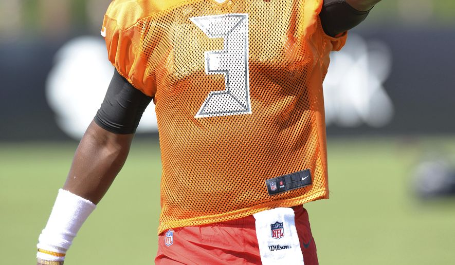 Tampa Bay Buccaneers Jamis Winston (3) agrees with a flag thrown by a referee during a joint NFL football practice with the Jacksonville, Jaguars, Tuesday, Aug. 15, 2017 in Jacksonville, Fla. (Bruce Lipsky/The Florida Times-Union via AP)