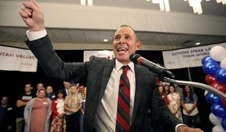 Provo Mayor John Curtis celebrates after winning Utah's Republican primary to become the favorite to fill the U.S. House seat vacated by Jason Chaffetz Tuesday, Aug. 15, 2017, in Provo, Utah. Curtis of Provo, defeated former state lawmaker Chris Herrod and business consultant Tanner Ainge, son of Boston Celtics president Danny Ainge. (AP Photo/Rick Bowmer)