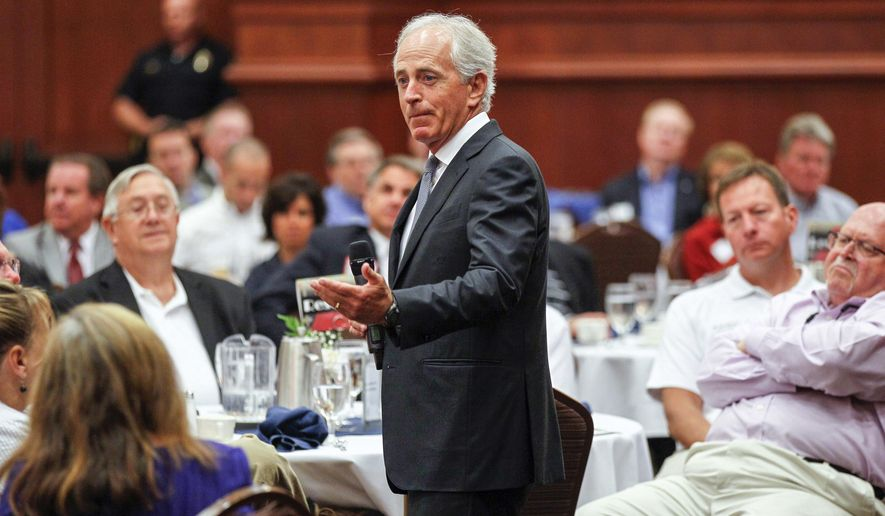 """U.S. Sen. Bob Corker, R-Tenn., speaks to the Sevier County Chamber of Commerce in Sevierville, Tenn., on Wednesday, Aug. 16, 2017. Corker called a man driving into crowd in Charlottesville, Va., """"an act of terror,"""" but declined criticize President Donald Trump's comments about the violent weekend clash in which an anti-racist protester was killed. (AP Photo/Erik Schelzig)"""