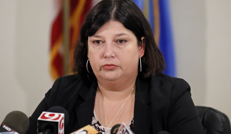 Oklahoma City Public Schools Superintendent Aurora Lora speaks during a news conference in Oklahoma City, Wednesday, Aug. 16, 2017. School officials will reconsider whether their schools should bear the names of confederate generals. (AP Photo/Sue Ogrocki)