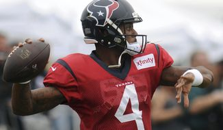Houston Texans quarterback Deshaun Watson (4) works on passing during a joint NFL football team practice with the New England Patriots in White Sulphur Springs, W.Va., Wednesday, Aug. 16, 2017. (AP Photo/Chris Jackson)