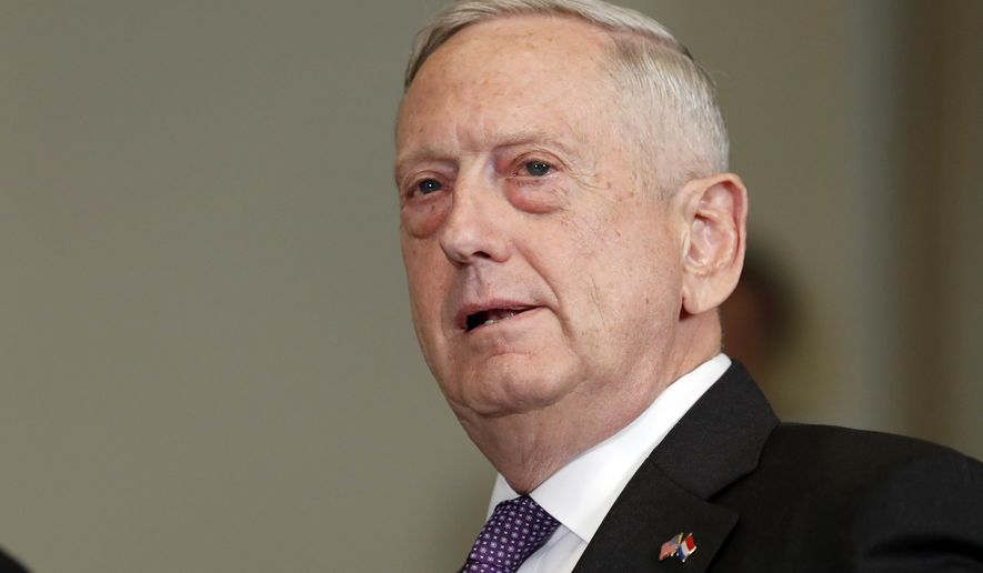 Defense Secretary Jim Mattis answers a reporter's question about North Korea, before a meeting with Dutch Defense Minister Jeanine Hennis-Plasschaert at the Pentagon, Tuesday, Aug. 15, 2017. (AP Photo/Alex Brandon)