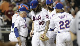 New York Mets starting pitcher Robert Gsellman (65) leaves the game during the sixth inning of a baseball game against the New York Yankees Wednesday, Aug. 16, 2017, in New York. (AP Photo/Frank Franklin II)
