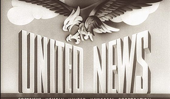 The opening introductory frame of a United News newsreel from World War II, which provided regular 20-minute news reports for Americans on the home front. These reports helped keep Americans informed. (National Archives)