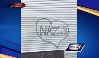 The New Hampshire Republican State Committee headquarters in Concord was vandalized overnight Wednesday, police said. (NH GOP via WMUR)