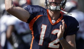 Denver Broncos quarterback Paxton Lynch throws during a joint NFL football practice with the San Francisco 49ers, Thursday, Aug. 17, 2017, in Santa Clara, Calif. (AP Photo/Marcio Jose Sanchez)