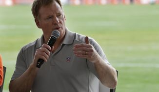 NFL Commissioner Roger Goodell answers questions during a season ticket member fan forum before practice at the NFL football team's training camp facility, Thursday, Aug. 17, 2017, in Berea, Ohio. (AP Photo/Tony Dejak)