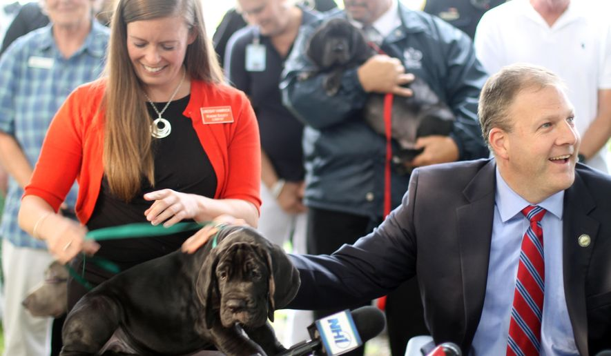 Lindsay Hamrick, New Hampshire director of The Humane Society of the United States, smiles as Republican Gov. Chris Sununu pets a Great Dane puppy on Thursday, Aug. 17, in Wolfeboro, N.H. Sununu was announcing his support for strengthening animal cruelty laws two months after more than 80 dogs were removed from what authorities described as filthy conditions in a Wolfeboro mansion. (AP Photo/Holly Ramer)