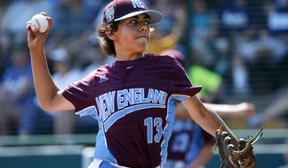 Fairfield, Conn., pitcher Ethan Righter delivers in the first inning of a baseball game against Jackson, N.J., in United States pool play at the Little League World Series tournament in South Williamsport, Pa., Thursday, Aug. 17, 2017. (AP Photo/Gene J. Puskar)