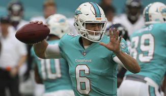 Miami Dolphins quarterback Jay Cutler (6), looks to pass the ball, during the first half of an NFL preseason football game against the Baltimore Ravens, Thursday, Aug. 17, 2017, in Miami Gardens, Fla. (AP Photo/Wilfredo Lee)