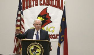 Attorney General Jeff Sessions speaks to law enforcement members during the Gangs Across The Carolinas Training Symposium in Winston-Salem, N.C., Thursday, Aug. 17, 2017. (AP Photo/Chuck Burton)