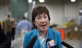 "U.S. Sen. Susan Collins, R-Maine, attending an event in Lewiston, Maine, Thursday, Aug. 17, 2017, speaks to reporters about President Donald Trump's recent comments about the violence in Charlottesville, Va. Collins criticized Trump for failing to speak forcefully against racism, bigotry and anti-Semitism ""from the very beginning,"" and said she doesn't understand why he backtracked on a forceful statement against racism earlier in the week. (AP Photo/Robert F. Bukaty)"
