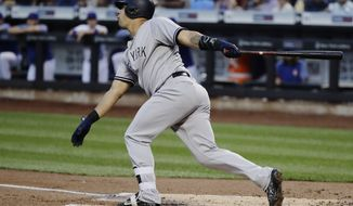 New York Yankees' Gary Sanchez follows through on a three-run home run during the first inning of a baseball game against the New York Mets on Thursday, Aug. 17, 2017, in New York. (AP Photo/Frank Franklin II)