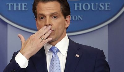 Anthony Scaramucci Director of communications (fired) - 11 Days.  In this July 21, 2017 photo, incoming White House communications director Anthony Scaramucci, right, blowing a kiss after answering questions during the press briefing in the Brady Press Briefing room of the White House in Washington. Scaramucci is out as White House communications director after just 11 days on the job.  A person close to Scaramucci confirmed the staffing change just hours after President Donald Trump's new chief of staff, John Kelly, was sworn into office. (AP Photo/Pablo Martinez Monsivais)