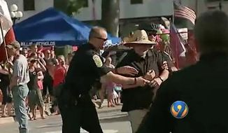 Karl Smith, a North Carolina man, was arrested Thursday after he pepper sprayed a group of Confederate veteran re-enactors during the 128th annual Soldiers Reunion Parade in Newton, police said. (WSOC)