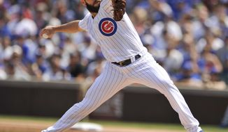 Chicago Cubs starter Jake Arrieta delivers a pitch during the first inning of a baseball game against the Toronto Blue Jays, Friday, Aug. 18, 2017, in Chicago. (AP Photo/Paul Beaty)