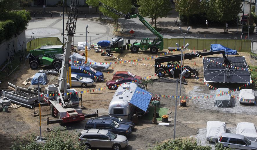 """A film set for the movie """"Deadpool 2"""" sits idle in Vancouver, British Columbia, on Tuesday,  Aug. 15, 2017. Production was halted after the death of a stuntwoman at a different filming location on Monday. The B.C. Coroners Service has identified the stuntwoman killed while she was working on the set as 40-year-old SJ Harris, a resident of New York City. (Darryl Dyck/The Canadian Press via AP)"""