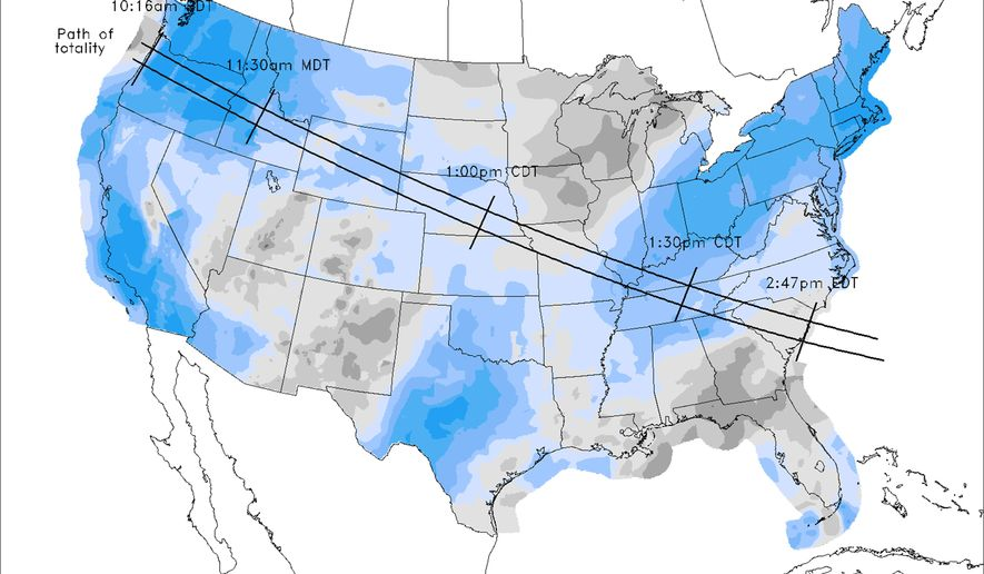 Eclipse Weather Forecast Best In West Least In East Washington Times