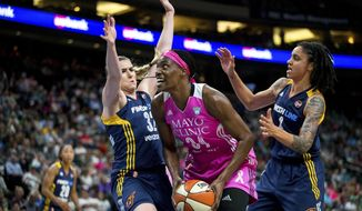 Minnesota Lynx center Sylvia Fowles (34) looks to shoot against Indiana Fever's Jeanette Pohlen-Mavunga (32) during the first half of a WNBA basketball game Friday, Aug. 18, 2017, in St. Paul, Minn. (Courtney Pedroza/Star Tribune via AP)