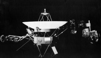 This undated photo provided by NASA's Jet Propulsion Lab showing the Voyager spacecraft in Passadena, Calif. On right side of the craft is girder-like boom which holds science project equipment and the imaging camera. Sunday, Aug. 20, 2017 marks the 40th anniversary of NASA's launch of Voyager 2, now almost 11 billion miles distant. (JPL/NASA via AP)