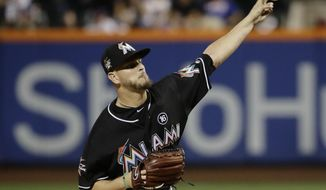 Miami Marlins' Justin Nicolino delivers a pitch during the first inning of a baseball game against the New York Mets on Friday, Aug. 18, 2017, in New York. (AP Photo/Frank Franklin II)