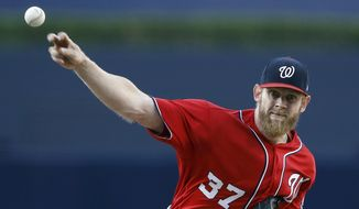 Washington Nationals starting pitcher Stephen Strasburg throws to a San Diego Padres batter during the first inning of a baseball game in San Diego, Saturday, Aug. 19, 2017. (AP Photo/Alex Gallardo)
