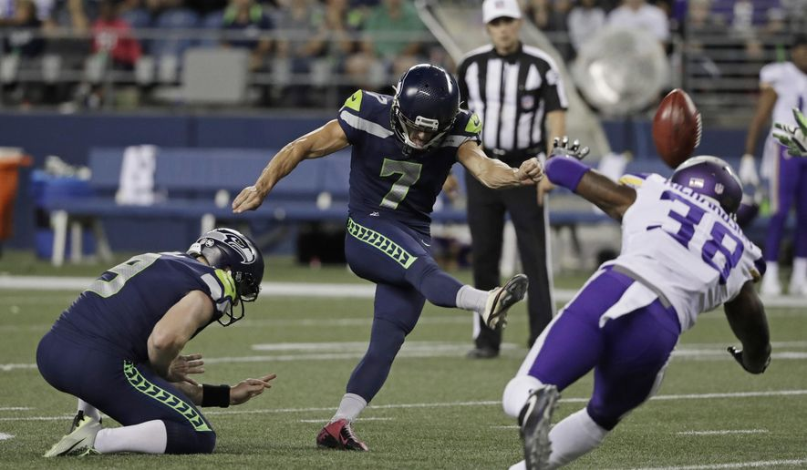 Seattle Seahawks' Blair Walsh (7) kicks a field goal as Minnesota Vikings' Horace Richardson (38) attempts to block during the second half of an NFL football preseason game, Friday, Aug. 18, 2017, in Seattle. (AP Photo/Stephen Brashear)