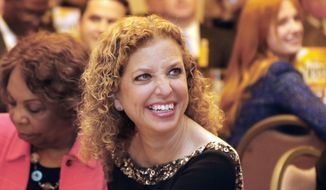Democratic National Committee Chairwoman U.S. Rep. Debbie Wasserman-Schultz, D-Fla., attends a state Democratic Party event honoring former U.S. Sen. David Pryor and his family in Little Rock, Ark., Thursday, April 23, 2015. (AP Photo/Danny Johnston) ** FILE **