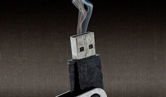 Smoking Gun Flash Drive Illustration by Greg Groesch/The Washington Times