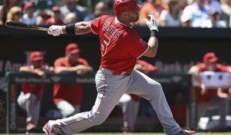 Los Angeles Angels' Albert Pujois follows through on a RBI single against the Baltimore Orioles in the third inning of a baseball game, Sunday, Aug. 20, 2017, in Baltimore. (AP Photo/Gail Burton)