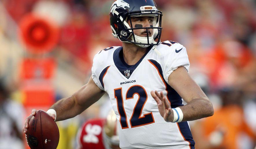 Denver Broncos quarterback Paxton Lynch (12) throws during the first half of a preseason NFL football game against the San Francisco 49ers on Saturday, Aug. 19, 2017, in Santa Clara, Calif. (AP Photo/D. Ross Cameron)