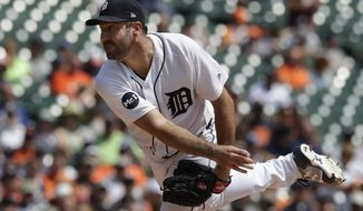 Detroit Tigers starting pitcher Justin Verlander throws during the third inning of a baseball game against the Los Angeles Dodgers, Sunday, Aug. 20, 2017, in Detroit. (AP Photo/Carlos Osorio)