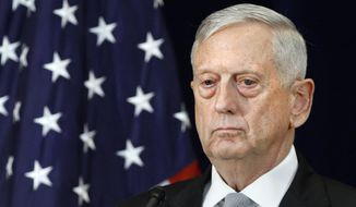 Defense Secretary James Mattis attends a news conference, Thursday, Aug. 17, 2017, at the State Department in Washington. (AP Photo/Jacquelyn Martin) ** FILE **