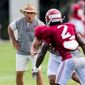 Alabama coach Nick Saban's Crimson Tide became the first program in 12 years to take the top spot in the Associated Press preseason media poll two straight years. (Associated Press)