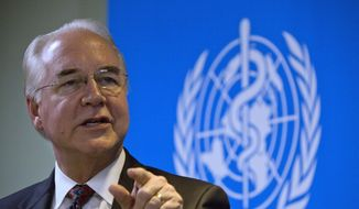 """U.S. Health and Human Services Secretary Tom Price speaks during an event titled """"The Next Pandemic"""" at the World Health Organization office in Beijing Monday, Aug. 21, 2017. (AP Photo/Ng Han Guan) ** FILE **"""