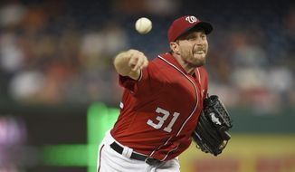 Washington Nationals starting pitcher Max Scherzer delivers a pitch during the second baseball game of a split doubleheader against the San Francisco Giants, Sunday, Aug. 13, 2017, in Washington. (AP Photo/Nick Wass) **FILE**