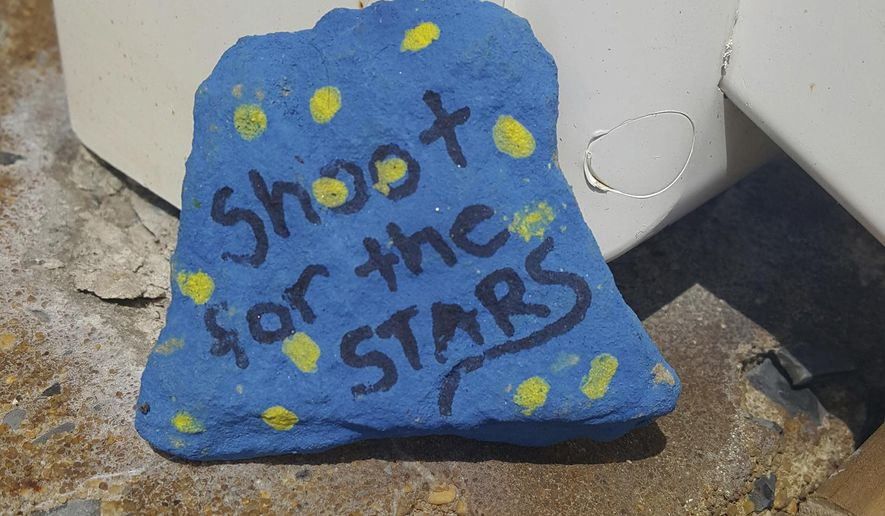 Angi Tennant found this rock outside her North Rosina Avenue office in Somerset, Pa. Tennant said she had been looking for joy rocks locally for a few weeks. Locally made joy rocks have #JoyRocks15501 written on the back of them. The back of the rocks indicate where theyre from. (Michelle Ganassi/Daily American via AP)