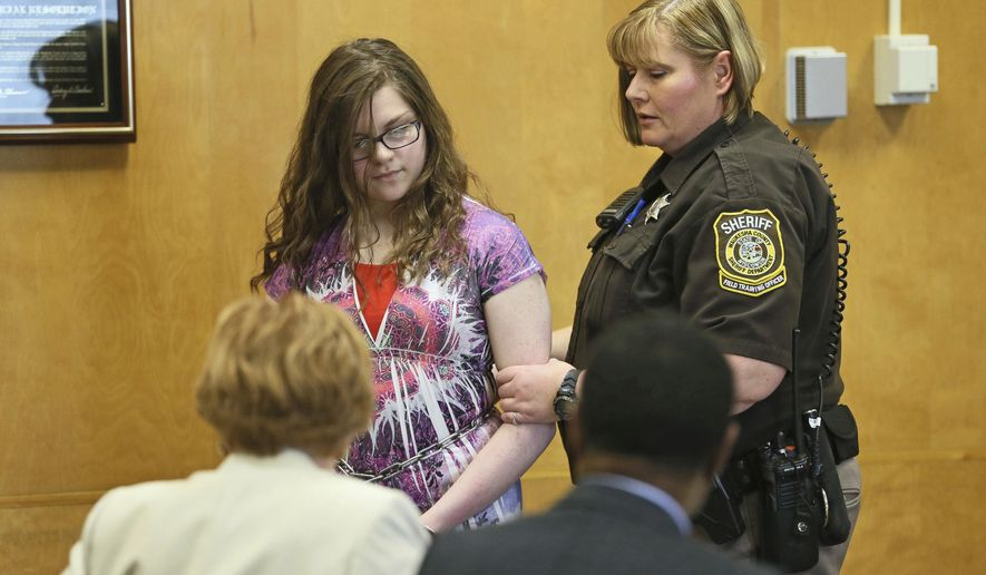FILE- In a Monday, Feb. 20, 2017 file photo, Anissa Weier, 15, appears in court in Waukesha, Wis. Weier, one of two Wisconsin girls charged with repeatedly stabbing a classmate to impress the fictitious horror character Slender Man, pleaded guilty Monday, Aug. 21, 2017, to attempted second-degree homicide as a party to a crime, with use of a deadly weapon. She initially faced a charge of attempted first-degree intentional homicide in the 2014 attack on Payton Leutner in Waukesha, a city west of Milwaukee.(Michael Sears/Milwaukee Journal-Sentinel via AP, Pool, File)