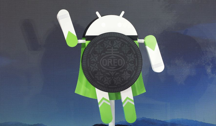 A sculpture of the Android 8.0 Oreo operating system is unveiled Monday, Aug. 21, 2017, in New York. Oreo boasts several new features, including the ability to respond to notifications directly on a phone's home screen and the ability to access apps without installing them on a device. (AP Photo/Mark Lennihan)