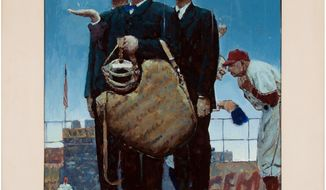 """This undated photo provided by Heritage Auctions shows a rendering by Norman Rockwell of one of his best known paintings. The rendering has sold at auction for $1.6 million. Heritage Auctions says the painting sold Sunday, Aug. 20, 2017, in Dallas to a buyer who wants to remain anonymous. The work was a study _ a preliminary work _ for Rockwell's """"Tough Call."""" The painting features three umpires looking skyward pondering whether to call a game because of rain. The family that put it up for auction had thought they just had a print. (Heritage Auctions via AP)"""