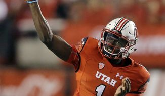 FILE - This Sept. 1, 2016, file photo, Utah quarterback Tyler Huntley throws down field in the second half during an NCAA college football game against Southern Utah in Salt Lake City.   Huntley will be Utah's starting quarterback after beating out senior returning starter Troy Williams. The decision to start Huntley was a bit of a surprise since Williams started all 13 games last season and was voted an offensive captain last week. Williams threw for 2,757 yards and 15 touchdowns with eight interceptions last season.(AP Photo/Rick Bowmer, File)