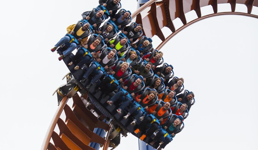 This photo provided by Cedar Point Amusement Park shows the Valravn, the new roller coaster that's opening to the public on Saturday, May 7, 2016 at Cedar Point in Sandusky, Ohio. The roller coaster has already broken records. It's now recognized as the tallest, fastest and longest dive coaster.  (Jordan Sternberg/Cedar Point Amusement Park via AP)