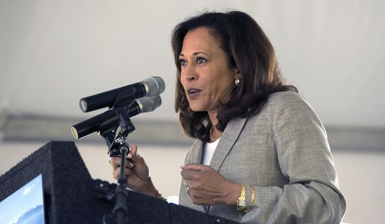 United States Sen. Kamala Harris D-Calif., speaks at the 21st Annual Lake Tahoe Summit, Tuesday, Aug. 22, 2017, in South Lake Tahoe, Calif. The summit is a gathering of federal, state and local leaders to discuss the restoration and to sustain Lake Tahoe.(AP Photo/Rich Pedroncelli)