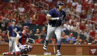 San Diego Padres' Yangervis Solarte, right, rounds the bases after hitting a two-run home run as St. Louis Cardinals catcher Carson Kelly, left, kneels at the plate during the eighth inning of a baseball game Tuesday, Aug. 22, 2017, in St. Louis. (AP Photo/Jeff Roberson)