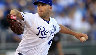 Kansas City Royals starting pitcher Danny Duffy delivers to a Colorado Rockies batter during the first inning of a baseball game at Kauffman Stadium in Kansas City, Mo., Tuesday, Aug. 22, 2017. (AP Photo/Orlin Wagner)