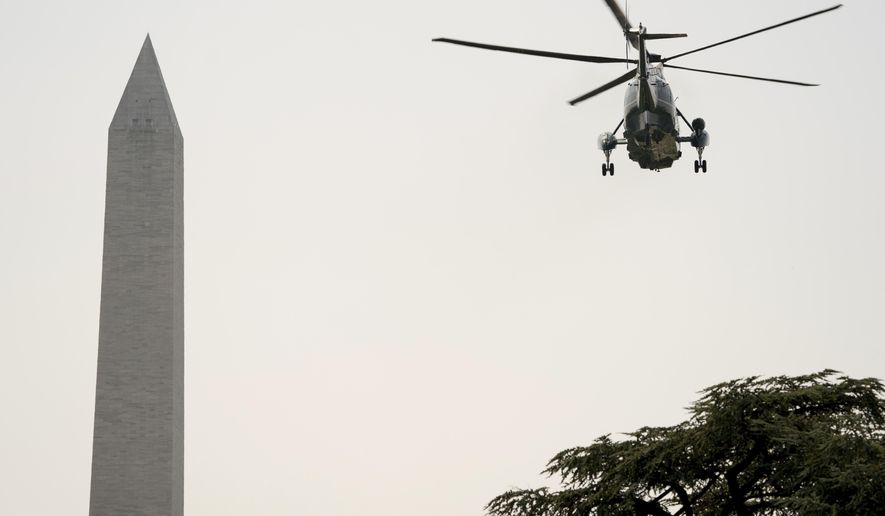 Marine One, with President Donald Trump aboard, departs the White House in Washington, Tuesday, Aug. 22, 2017, for a short trip to Andrews Air Force Base, Md. and then onto Yuma, Ariz. to visit the U.S. border with Mexico and attend a rally in Phoenix. (AP Photo/Andrew Harnik)